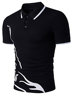Bomull Rayon Tynn Kortermet,Skjortekrage Polo Fargeblokk Sommer Enkel Aktiv Fritid/hverdag Sport Herre