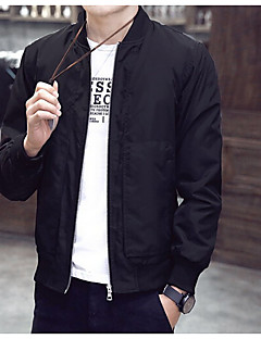 Masculino Jaqueta Casual Simples Primavera Outono,Sólido Padrão Algodão Colarinho Chinês