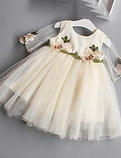 女の子の刺繍ドレス、綿ポリエステル夏半袖