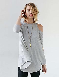 Damen Solide Sexy Ausgehen Strand T-shirt,Schulterfrei Frühling Sommer Langarm Polyester Dünn