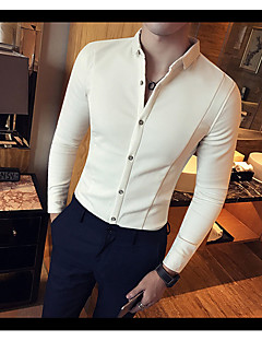 Men's Casual/Daily Simple Spring Shirt,Solid Square Neck Long Sleeves Cotton Opaque