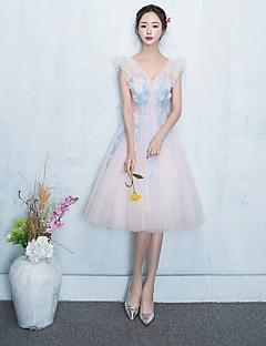 Knee-length V-neck Bridesmaid Dress - See Through Sleeveless Tulle