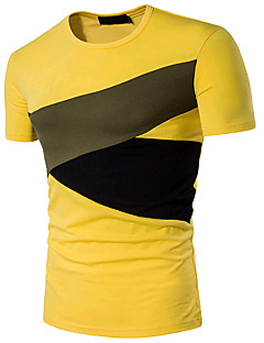 Men's Sports Going out Casual/Daily Simple Active Summer T-shirt,Color Block Round Neck Short Sleeve Cotton Medium