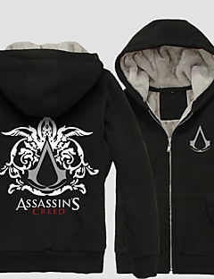 Inspired by Assassin's Creed Conner Anime Cosplay Costumes Cosplay Hoodies Print Black Long Sleeve Coat