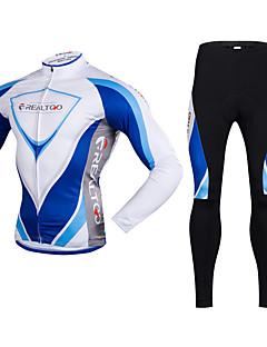 Realtoo Calça com Camisa para Ciclismo Homens Manga Longa Moto Conjuntos de Roupas Térmico/Quente Secagem Rápida Forro de Velocino