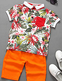 Casual/Daily Floral Tee,Cotton Summer Short Sleeve Regular