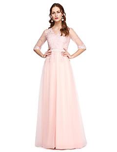 Krój A Wcięcie V Sięgająca podłoża Koronka Tiul Bal Kolacja oficjalna Sukienka z Koronka Plisy przez TS Couture®