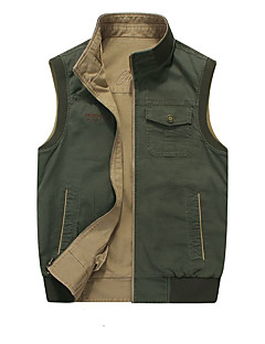 Men's Vest/Gilet Breathable Thermal / Warm Spring Army Green Dark Coffee