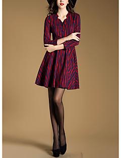 Γυναικείο Πάρτι/Κοκτέιλ Γιορτή Βίντατζ Εφαρμοστό Φόρεμα,Μονόχρωμο ¾ Μανίκι Στρογγυλή Λαιμόκοψη Πάνω από το Γόνατο Ίνα Μπαμπού Spandex