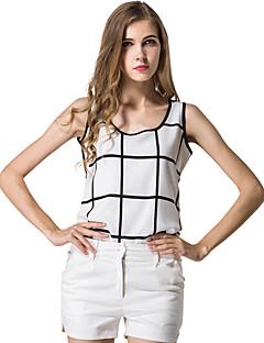 Damen Schachbrett Einfach Lässig/Alltäglich Übergröße Tank Tops,Rundhalsausschnitt Sommer Ärmellos Polyester Dünn Lichtdurchlässig