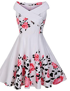 Women's Off The Shoulder Casual/Daily Vintage Sheath Dress,Floral Boat Neck Midi Sleeveless Cotton Polyester Summer Fall Mid Rise Micro-elastic Medium