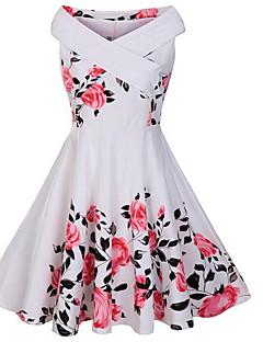 Γυναικείο Καθημερινά Βίντατζ Θήκη Φόρεμα,Φλοράλ Αμάνικο Χαμόγελο Μίντι Βαμβάκι Πολυεστέρας Καλοκαίρι Φθινόπωρο Κανονική Μέση Μικροελαστικό
