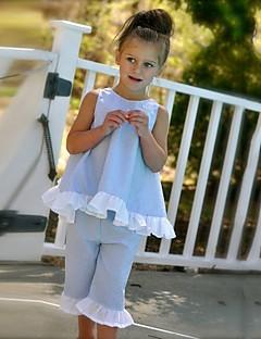 Mädchen Sets Ausgehen Lässig/Alltäglich Strand einfarbig Punkte Baumwolle Polyester Sommer Ärmellos Kleidungs Set