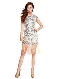 TS Couture Cocktail Party Dress - Sparkle & Shine Sheath / Column Jewel Knee-length Sequined with Sequins Tassel(s)