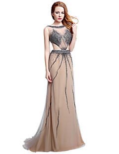 Il vestito da sera formale del vestito da sera / colonna del merletto spazzata / tulle del treno della spazzola con bordare