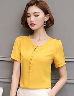 2017 짧은 소매 쉬폰 셔츠 여성 한국어 야드 쉬폰 블라우스 셔츠 여성에 서명