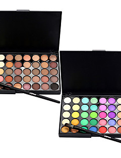 40 Color Eyeshadow (2 Color Set to Choose)+ 1 Eyeshadow BrushØyenskyggerSminkebørster Tørr Matt Glans Øyne AnsiktForlenget Glitter glans