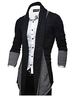 Men's Casual/Daily Simple Long Cardigan,Color Block Stand Long Sleeve Rabbit Fur Spring Fall Medium Micro-elastic