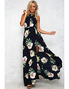 estilo europeu sem mangas halter vestido de flores retro oco novo local