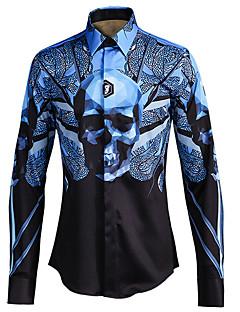 Masculino Camisa Social Casual Simples Todas as Estações,Estampado Poliéster Decote Quadrado Manga Longa Média