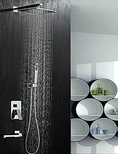 現代風 シャワーシステム レインシャワー ワイドspary ハンドシャワーは含まれている with  セラミックバルブ 二つのハンドル5つの穴 for  クロム , シャワー水栓