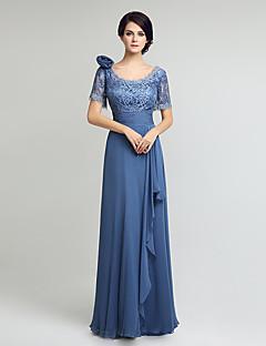 Plášť / sloupek matka nevěsty šaty kolenní délka krátký rukáv šifónová krajka s krajkou