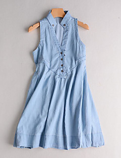 Women's Casual/Daily Simple Denim Dress,Solid V Neck Knee-length Sleeveless Cotton Spring Summer Mid Rise Micro-elastic Medium