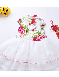 Girl's Holiday Solid Floral Dress,Nylon Spring Short Sleeve