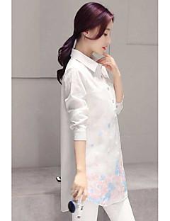 Feminino Camisa Social Casual Simples Primavera,Floral Algodão Colarinho de Camisa Manga Longa Fina