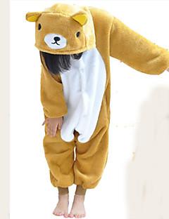 Kigurumi Pijamas Urso Malha Collant/Pijama Macacão Festival/Celebração Pijamas Animal Branco / Amarelo Miscelânea Flanela Kigurumi Para