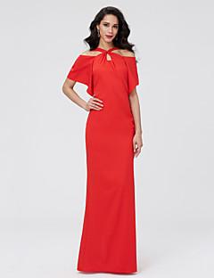 TS Couture ערב רישמי שמלה - גב יפהפייה מעטפת \ עמוד רצועות עד הריצפה שיפון עם קפלים