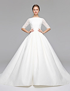 LAN TING BRIDE A-line Wedding Dress Simply Sublime Sweep / Brush Train Bateau Lace Satin with Bow Sash / Ribbon