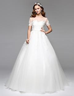 LAN TING BRIDE A-라인 웨딩 드레스 어깨 노출 스타일 바닥 길이 쥬얼리 레이스 튤 와 레이스