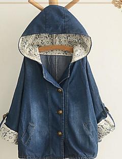Damen Solide Einfach Lässig/Alltäglich Jeansjacke,Mit Kapuze Frühling Herbst Langarm Standard Baumwolle Polyester