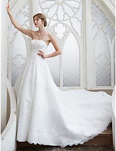 LAN TING BRIDE Linha A Vestido de casamento - Elegante e Luxuoso Renda Floral Cauda Capela Tomara que Caia Renda comCom Apliques Miçanga