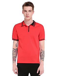 Men's Going out Casual/Daily Party Vintage Simple Street chic Summer Fall T-shirt,Solid Shirt Collar Short Sleeve Polyester Thin