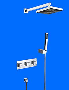現代風 壁式 レインシャワー ハンドシャワーは含まれている with  セラミックバルブ 二つのハンドル4つの穴 for  クロム , シャワー水栓
