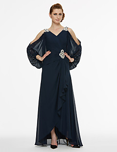 A-Line V-neck Asymmetrical Chiffon Mother of the Bride Dress with Beading Sash / Ribbon Pleats by LAN TING BRIDE®