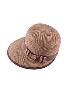 LYZA Women's Block Bow Woven Straw Girly Hat