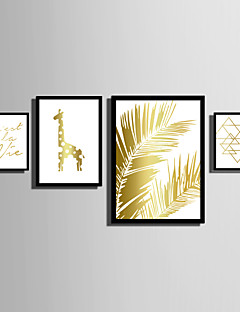 E-HOME® Framed Canvas Art   Simple Gold Animals And Plants Theme Series Framed Canvas Print One Pcs
