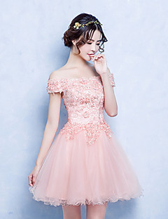 A-Line Off-the-shoulder Short / Mini Tulle Cocktail Party Dress with Appliques Lace