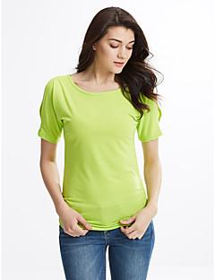 Bomull Rayon Tynn Kortermet,Rund hals T-skjorte Ensfarget Sommer Sexy Gatemote Fritid/hverdag Dame