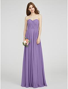 Lanting Bride® Gulvlang Chiffon Brudepikekjole - A-linje Kjære Plusstørrelse Petit med Kryssdrapering Ruchiing