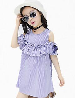 שמלה כותנה קיץ כל העונות אביב שרוול קצר יום יומי\קז'ואל פסים הילדה של