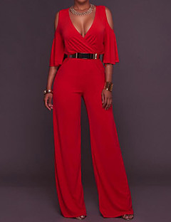 Women's High Rise Casual/Daily Jumpsuits,Simple Loose Solid Summer