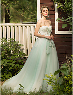 Formal Evening Dress - Lace-up A-line Sweetheart Sweep / Brush Train Tulle with Appliques Beading Bow(s) Flower(s) Bandage
