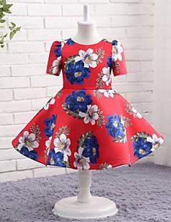 Linha A Até os Joelhos Vestido para Meninas das Flores - Microfibra Jersey Decorado com Bijuteria com Estampa