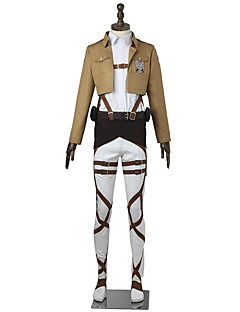 Inspired by Attack on Titan Mikasa Ackermann Anime Cosplay Costumes Cosplay Suits Solid Long SleeveTop Pants Apron Belt More Accessories