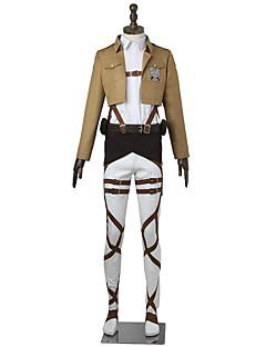 קיבל השראה מ Attack on Titan Mikasa Ackermann אנימה תחפושות קוספליי חליפות קוספליי מוצק שרוולים ארוכיםעליון מכנסיים סינר חגורה עוד
