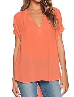 Dames Eenvoudig Zomer T-shirt,Casual/Dagelijks Grote maten Effen V-hals Korte mouw Polyester Medium